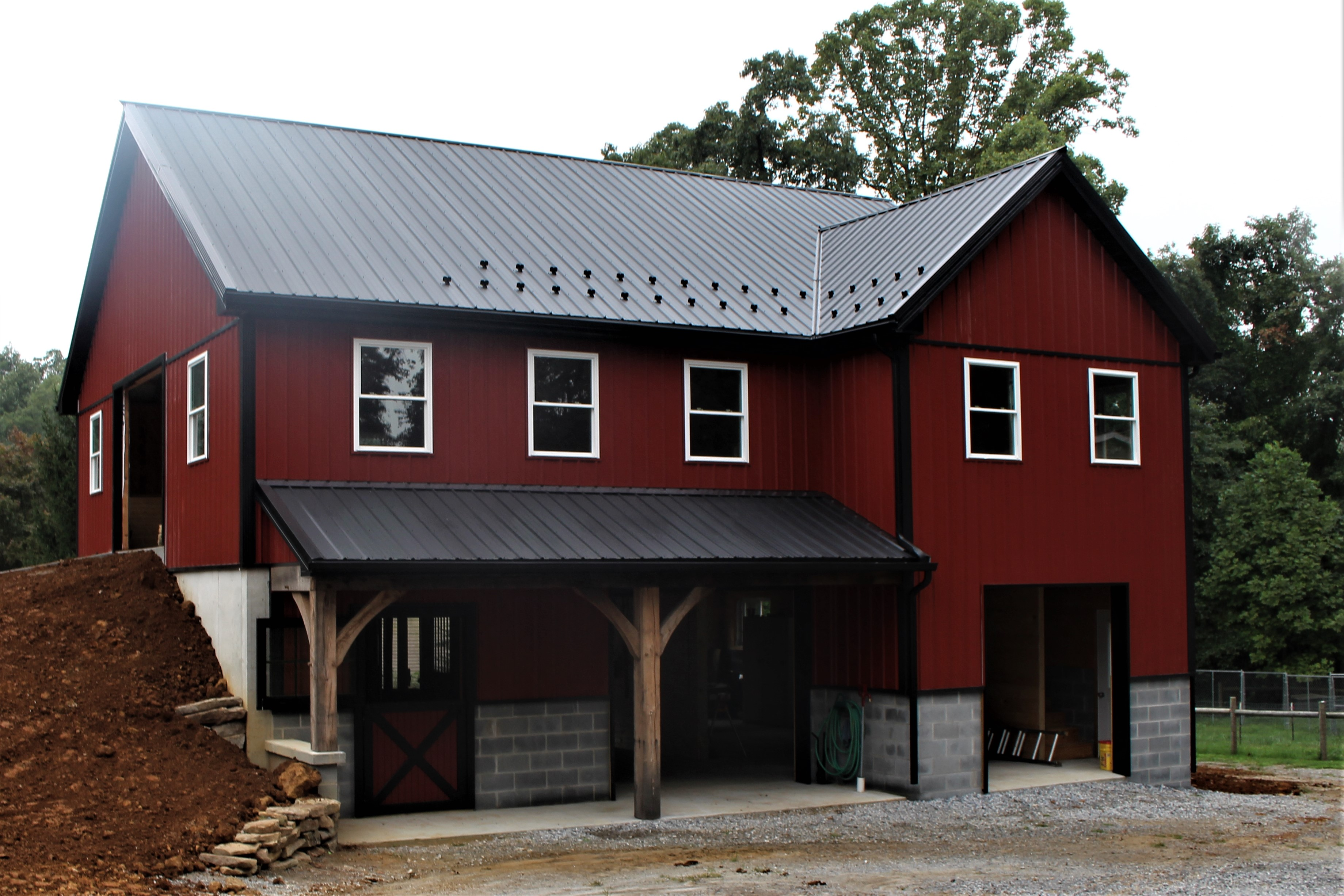 Tan Sidewalls, Charcoal Roof And Trim On 2 Story Barn